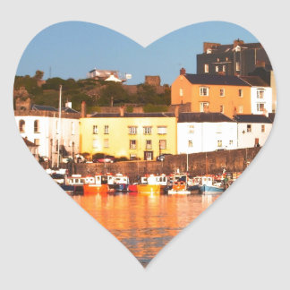 The Harbour At Tenby, South Wales Heart Sticker