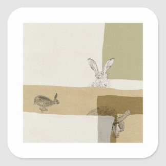 The Hare and the Tortoise An Aesop's Fable Square Sticker