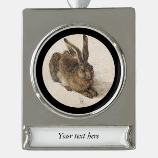 The Hare or  Young Hare in Winter Silver Plated Banner Ornament