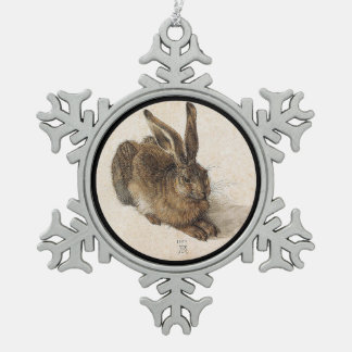 The Hare or  Young Hare in Winter Snowflake Pewter Christmas Ornament