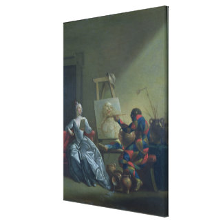 The Harlequin Painter, c.1742 (oil on canvas) Canvas Print