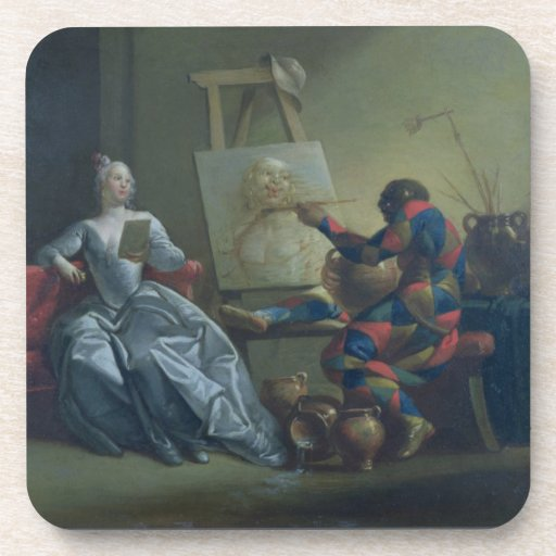 The Harlequin Painter, c.1742 (oil on canvas) Drink Coaster