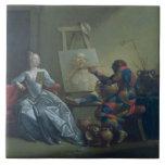 The Harlequin Painter, c.1742 (oil on canvas) Ceramic Tiles