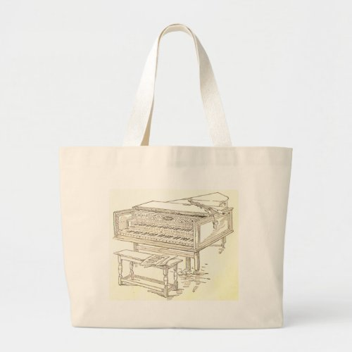 Harpsichord 1850s History Book Etching Jumbo Tote Bag