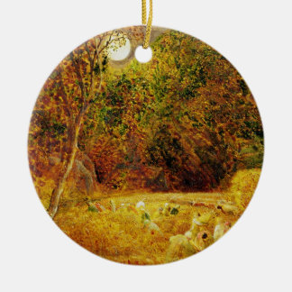 The Harvest Moon, 1833 (oil on paper laid on panel Double-Sided Ceramic Round Christmas Ornament