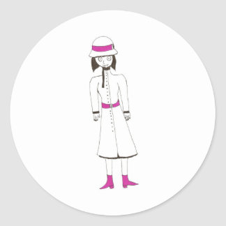 The Hat and Coat creepy girl Round Stickers