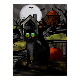 The Haunted Hills Folk Art HALLOWEEN Poster