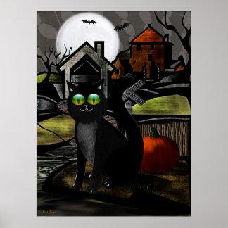 The Haunted Hills Folk Art HALLOWEEN Poster