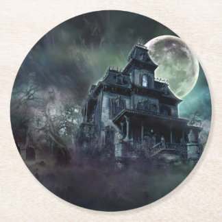 The Haunted House Paranormal Round Paper Coaster