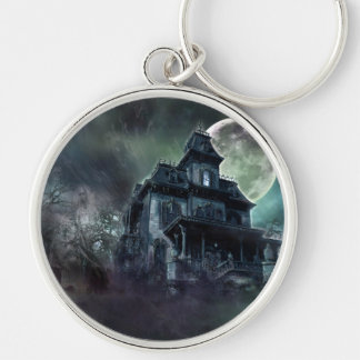 The Haunted House Paranormal Silver-Colored Round Keychain