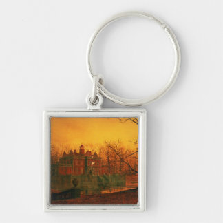 The Haunted House Silver-Colored Square Keychain