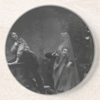 The Haunted Lane Stereograph Spirit Photography Drink Coaster