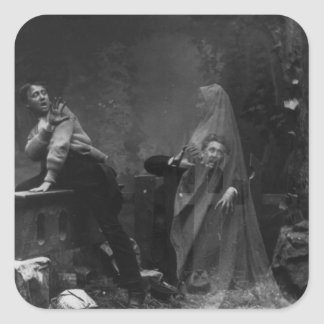 The Haunted Lane Stereograph Spirit Photography Square Sticker