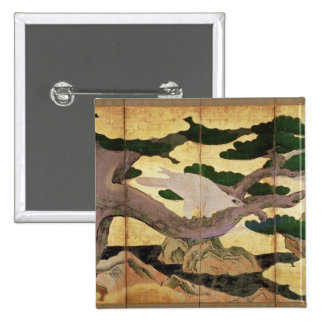 The Hawks in the Pines, 6 panel folding screen Pinback Button