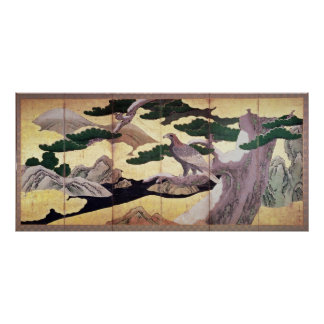 The Hawks in the Pines, 6 panel folding screen Poster