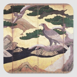 The Hawks in the Pines, 6 panel folding screen Square Sticker