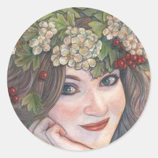 The Hawthorn Queen. Classic Round Sticker