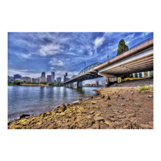 The Hawthorne Bridge from Bank of The Willamette Poster