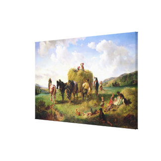 The Hay Harvest, 1869 Canvas Print