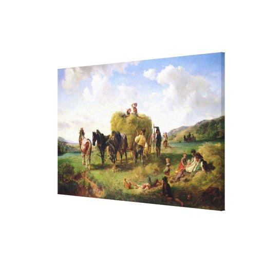 The Hay Harvest, 1869 Canvas Print