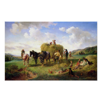 The Hay Harvest, 1869 Poster