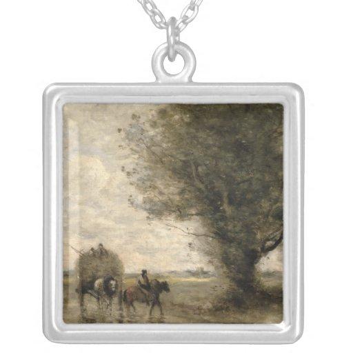 The Haycart, c. 1860 Square Pendant Necklace