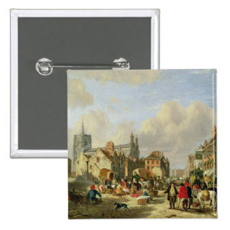 The Haymarket, Norwich, 1825 (oil on panel) Pinback Button
