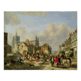 The Haymarket, Norwich, 1825 (oil on panel) Poster