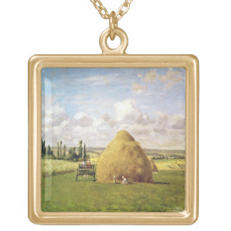 The haystack, Pontoise, 1873 Gold Plated Necklace