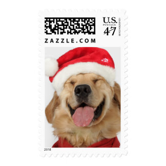 The head and goofy smile of a happy dog postage