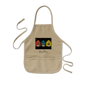 The head hiding, the rear end not hiding kids' apron