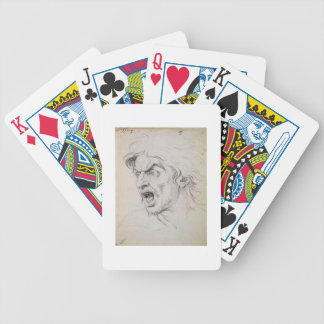 The head of a man screaming in terror, a study for bicycle playing cards