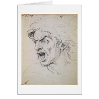 The head of a man screaming in terror, a study for card