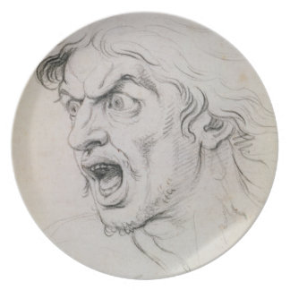 The head of a man screaming in terror, a study for dinner plate