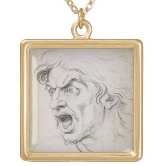 The head of a man screaming in terror, a study for pendants