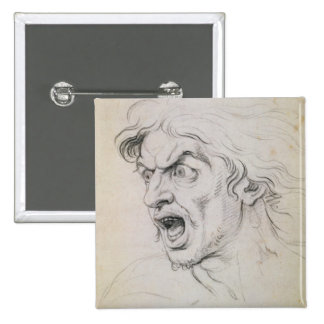The head of a man screaming in terror, a study for pinback button