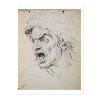 The head of a man screaming in terror, a study for postcard
