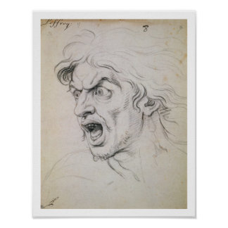 The head of a man screaming in terror, a study for poster