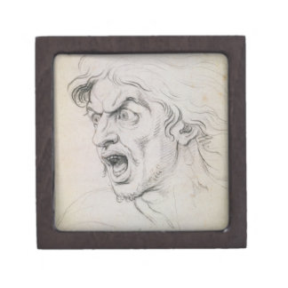 The head of a man screaming in terror, a study for premium jewelry box