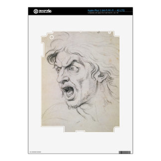 The head of a man screaming in terror, a study for iPad 3 decals