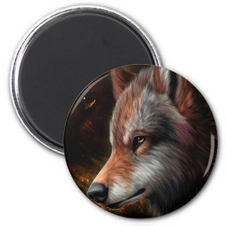 The head of a wolf painting. 2 inch round magnet