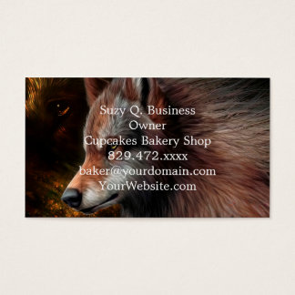 The head of a wolf painting. business card