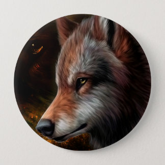 The head of a wolf painting. button