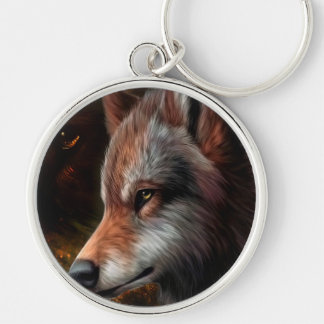 The head of a wolf painting. keychain