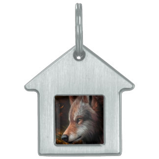 The head of a wolf painting. pet ID tag