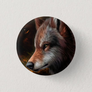 The head of a wolf painting. pinback button