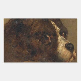 The head of bulldog by Theodore Gericault Rectangular Sticker