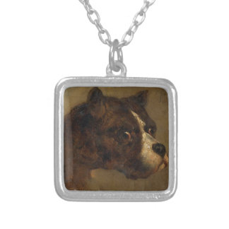 The head of bulldog by Theodore Gericault Square Pendant Necklace