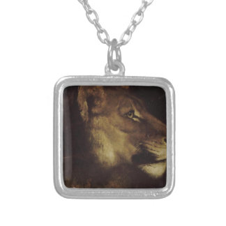 The head of lion by Theodore Gericault Square Pendant Necklace