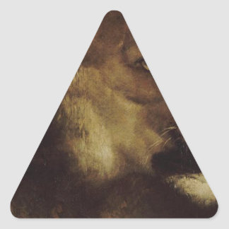 The head of lion by Theodore Gericault Triangle Sticker
